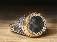 925 K Sterling Silver Man Ring Gray Heliotrope 10 US Size $64.56