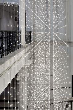 Stunning feature lighting display in atrium space. interior design, hotel design, leds,