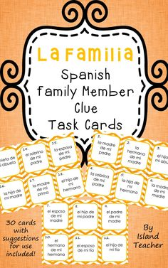 """Help students practice family member vocabulary. 30 cards are included, each with statements such as """"la madre de mi padre"""", """"la hija de mi hermano"""" and """"la sobrina de mi padre"""". Students must respond by stating the correct family member."""