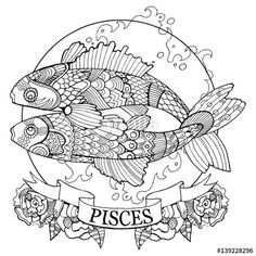 Pisces zodiac sign coloring page for adults   on Fotolia 139228296