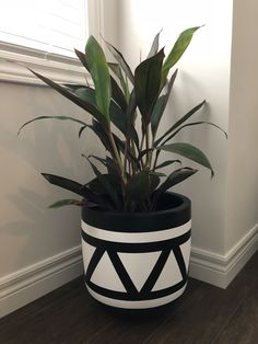 Black & white design offers simplicity and style Flower Pot Art, Flower Pot Design, Flower Pot Crafts, Painted Plant Pots, Painted Flower Pots, Painted Pebbles, House Plants Decor, Plant Decor, Decorated Flower Pots