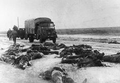 Stalingrad: Soviets start to collect dead German soldiers along the snowy road.