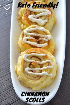 Keto Cinnamon Rolls are a sweet cheesy dessert which are made from the pizza dough, mixed with stevia to give it a slight sweetness alongside the cinnamon.