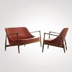 "1956 : Ib Kofod-Larsen, designer Danois (1921-2003), Sofa et Fauteuil ""Elizabeth"" cuir et bois de rose"