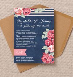 Rustic vintage floral denim navy blue roses pink wedding invitations invites printable printed by Hip hip hooray stationery