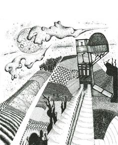 Black and White Moon Illustration Fertile Hill