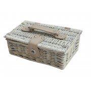 Provence White Wash Small Wicker Empty Hamper Basket | Storage Basket