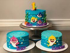 Shark Birthday Cakes, 2nd Birthday Party For Girl, Animal Birthday Cakes, 2 Birthday Cake, Barbie Birthday, Birthday Ideas, Birthday Cards, Happy Birthday, Shark Cupcakes