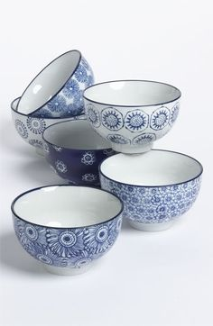Chehoma Ateliers d'Ambiance Small Blue Flower Bowls (Set of 6) available at #Nordstrom