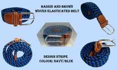 BASSIN AND BROWN BELT COLLECTION - DESIGN: STRIPE - COLOURS: NAVY/BLUE - http://www.bassinandbrown.com/