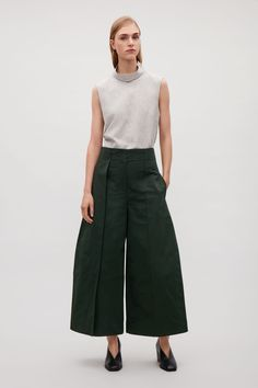 COS image 4 of Wide-leg trousers with flap detail in Khaki green