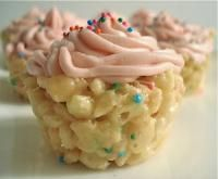 Cake Batter Rice Krispie Cupcakes. A new twist on the cupcake. So quick and easy. These taste delicious!
