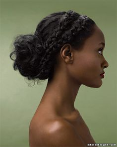 Loose Braids - side part and divide into to sections, then french braid, secure with an elastic band and pull into a loose bun, wrapping braids around and fastening with bobby pins - set with hair spray. Braided Updo, Braided Hairstyles, Wedding Hairstyles, Party Hairstyles, Hairstyles Haircuts, Curly Hair Styles, Natural Hair Styles, Updo Styles, Loose Braids