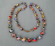 Vintage Art Deco Graduated Millefiori Venetian Murano Art Glass Bead Necklace