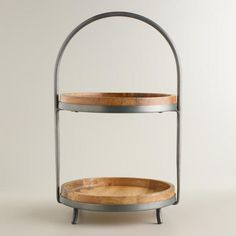 Wood and Metal 2-Tier Serving Stand from Cost Plus World Market's New Woodland Retreat Collection >> #WorldMarket Home Decor Ideas