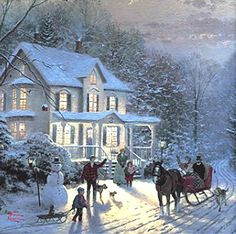 My very favorite Thomas Kinkade picture..snow and family