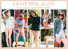 Light Pink Jeans for the win! Peach Pants Outfit, Blush Outfit, Jeans Outfit Summer, Summer Outfits, Layering Outfits, Basic Outfits, Pink Outfits, Cool Outfits, Pantalon Naranja Outfits