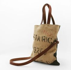 Recycled Coffee Bags Hessian Bag made into a bag