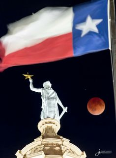 Photo of full lunar eclipse taken at the capital building, Austin, Texas, 04/15/2014 ~~ Jared Tennant Photography