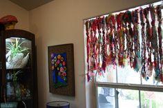 boho chic no sew gypsy rag valance curtains Mint Curtains, Rag Curtains, Strip Curtains, Window Coverings, Window Treatments, Window Valances, Flea Market Style, Eclectic Design, Boho Designs