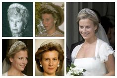 The Iveagh Tiara. Also called the Gloucester Leafage Tiara, this piece was given to Queen Mary as a wedding present by the Earl and Countess of Iveagh in 1893.  Mary then gave the tiara as a wedding gift to her new daughter-in-law, the Duchess of Gloucester (Princess Alice).  The piece, which is composed of leafage motifs in diamonds, is worn by the current duchess, Birgitte, and was worn by her daughter, Lady Rose, at her 2008 wedding.