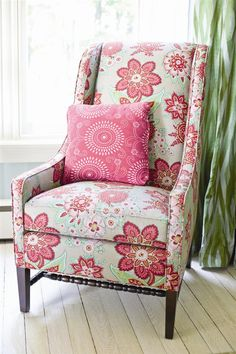 Selke chair in bright, oversized floral fabric--fun