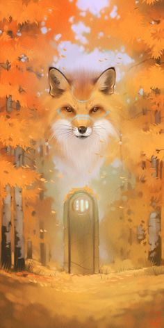 Autumn by GaudiBuendia - animal wallpaper Art And Illustration, Fantasy Kunst, Fantasy Art, Fox Art, Animal Wallpaper, Hipster Wallpaper, Visionary Art, Cute Wallpapers, Cute Art