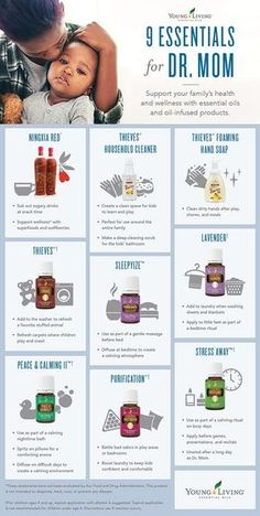 Young Living 9 essentials for Dr. Mom Infographic