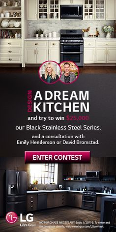 A best in class, black stainless steel fridge is a great addition to any #kitchen. Why not put one in yours? Pin a kitchen inspired by our new Black Stainless Steel Series and you could win the full appliance suite and $25,000 as part of our #LGLimitlessDesign Contest. NO PURCHASE NECESSARY. Ends 1/29/16. To enter and for complete details, visit www.hgtv.com/LGcontest.