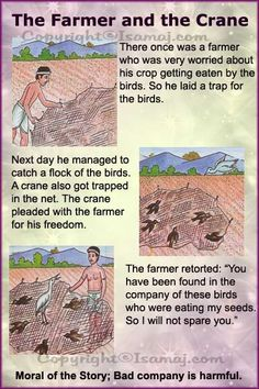 Moral stories: the farmer and the crane stories with moral lessons, english moral stories Stories With Moral Lessons, English Moral Stories, English Stories For Kids, Moral Stories For Kids, English Worksheets For Kids, English Story, English Lessons For Kids, Kids English, English Reading