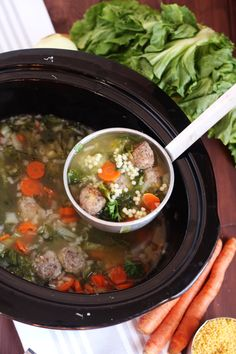 Slow Cooker Italian Wedding Soup - Authentic traditional soup, easily made in the crock pot for a delicious homemade meal. Slow Cooker Clam Chowder, Crock Pot Slow Cooker, Crock Pot Cooking, Slow Cooker Recipes, Cooking Recipes, Crockpot Meals, Freezer Meals, Crock Pot Soup Recipes, Crockpot Dishes