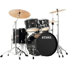 Tama Imperialstar 5-Piece Complete Drum Set with Meinl HCS Cymbals and 20 in. Bass Drum Hairline Black