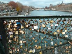 On the Seine couples leave a lock as a symbol of their love- symbolizing finding the one who holds the key to their heart! I wanna do it!