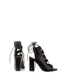 Black Premium Leather Peeptoe Ghillie Block Heels  | New Look