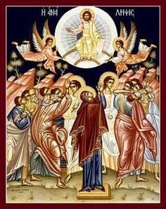 Ascension of Jesus - Orthodox Christian Religious Observance; Religious Icons, Religious Art, Religious Pictures, Ascension Of Jesus, Religion, Byzantine Icons, Orthodox Christianity, Pentecost, Orthodox Icons