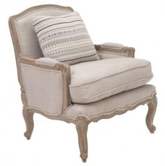 Riviera Armchair - Grey The frame and cabriole legs on our understated French style armchair are made of Weathered Oak. Looks gorgeous in a sitting room, bedroom. Available in: Check, Grey, Mocca Silk. Foot Stool sold separately. 72cm W x 60cm D x 85cm H €734.00