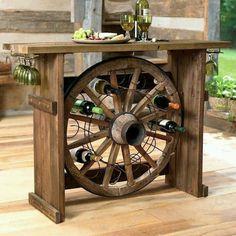 Wagon wheel wine rack