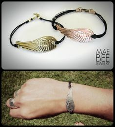 NEW Angel Wing bracelets in Copper Rose and Gold Bronze and Sterling Silver! www.jewelrybymaebee.etsy.com