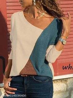 Stitching Contrast Color Round Neck Long Sleeve Casual T-Shirt Top Custom Tee Shirts, V Neck Blouse, Casual T Shirts, Casual Wear, Casual Pants, Pulls, Types Of Sleeves, Cool Outfits, Clothes For Women
