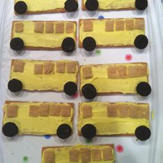 School Bus snacks for Transportation unit at school....   Graham crackers, yellow icing, mini Oreos and chex cereal..
