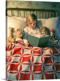 "Old children's book illustration.""Story Time "" by Kathy Lawrence. Reading Art, Kids Reading, Bedtime Reading, Reading Books, Time Photo, Photo Canvas, Children's Book Illustration, Story Time, Vintage Children"