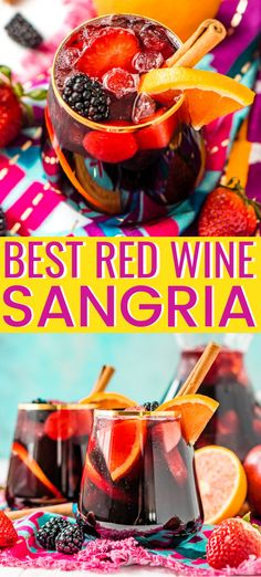 Red Wine Sangria isn't overly sweet and is a delicious big batch cocktail the whole party will love! This Red Sangria Recipe is made with a mix of red wine, brandy, lemon-lime soda and loaded with oranges, apples, strawberries, and blackberries, plus a touch of cinnamon! #wine #redwine #sangria #redwnesangria #cocktail #alcoholic