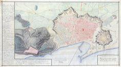 Recorregut de la muralla romana En aquest plànol de la ciutat de Barcelona que l'enginyer Cermeño va fer el 1751 s'aprecia perfectament el recorregut de les muralles romanes de la ciutat. Plano de la Plaza de Barcelona, su puerto, Ciudadela y Castillo de Montjuich en el Proyecto general de las Fortificaciones y Edificios Militares que se consideren precisos. Juan Martín Cermeño, 1751