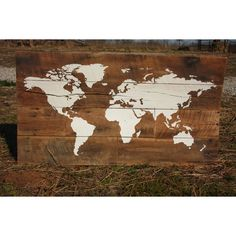 Large H World Map Wall Art Reclaimed Wood Wall Décor 51x28 ($189) ❤ liked on Polyvore featuring home, home decor, wall art, dark olive, home & living, home décor, wall décor, mounted wall art, home wall decor and reclaimed wood wall art