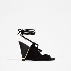 ZARA - WOMAN - LACE UP LEATHER WEDGES