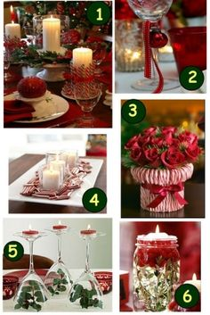 Beautiful White and Red Christmas Dinner Table Decorations. Dining Room Designs. Sweet Christmas Dinner Table Decoration Ideas. Christmas Di...