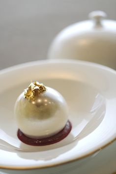 Armani Ristorante, White Chocolate and Vanilla Sphere with Cassis Sorbet
