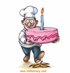 happy birthday - Page 7 Happy Birthday Chef, Funny Happy Birthday Gif, Happy Birthday Quotes, Happy Birthday Images, Happy Birthday Greetings, Birthday Pictures, Birthday Cake, Funny Greetings, Funny Greeting Cards