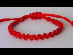 Pulsera roja nudo simple macramé - YouTube