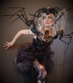 Headdress, Headpiece, Different Angles, Dark Gothic, Burning Man, Red Flowers, Cover Photos, Sculpting, Spider